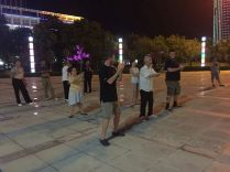 Our first night in Handan, we found a huge group of people doing tai chi in a park and we had to join.